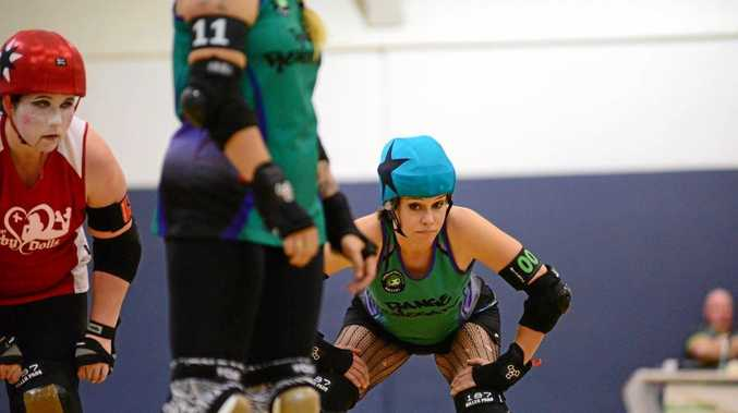 FOCUS: Toowoomba City Rollers Range Renegades representative Rachel Bailey in action during the 2016 Carnival of Carnage.