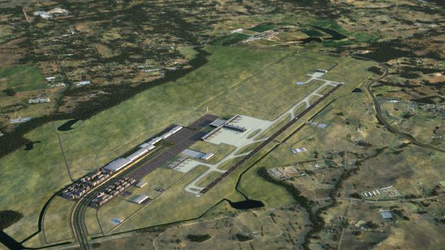 An artist's impression of the new $6b Badgerys Creek Airport to be built in Western Sydney.