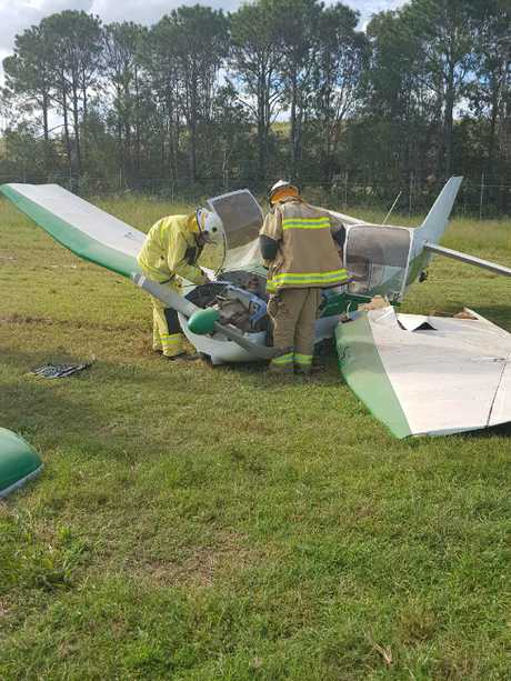 Emergency services attended the scene of a light plane crash at Caboolture Airfield.
