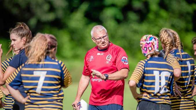 MENTOR: Glen Gamble (red) has been instrumental in building the women's game.