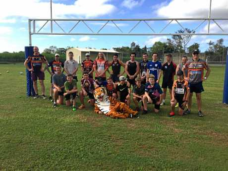 The students had a ball with Wests Tigers players.