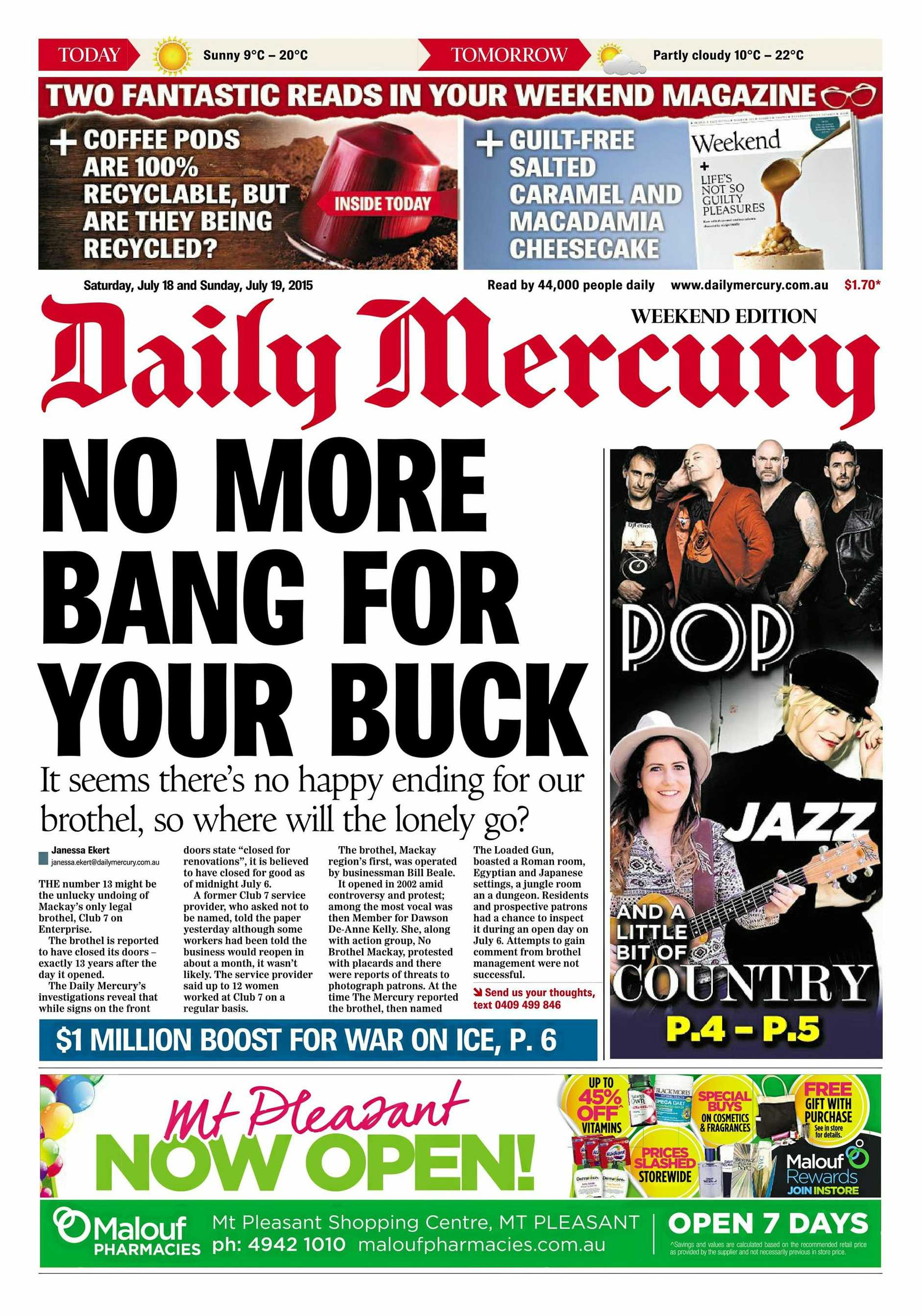 How the Daily Mercury reported Club 7's closure in July, 2015.