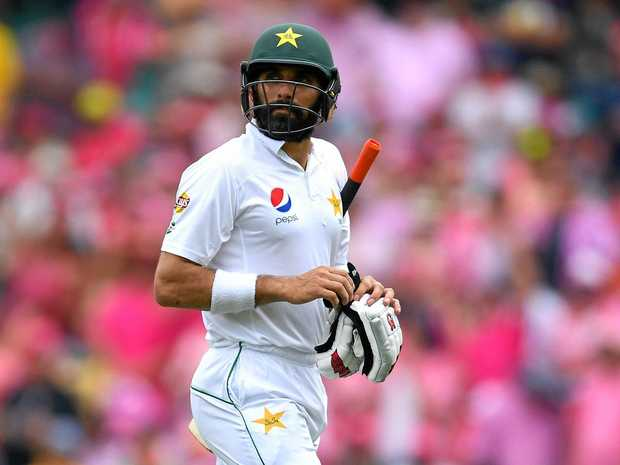 Pakistan captain Misbah-ul-Haq was dismissed one run short of a century on day three of the second Test against West Indies in Barbados.