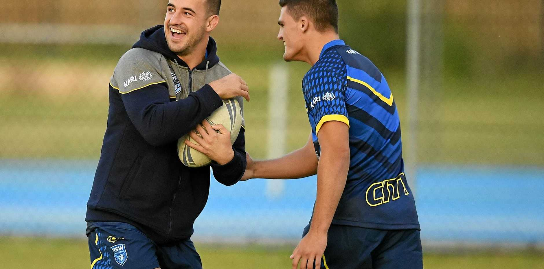 Jake Marketo (left) shares a light-hearted moment with City Origin teammate Nathan Cleary at training ahead of the clash against Country in Mudgee on Sunday.