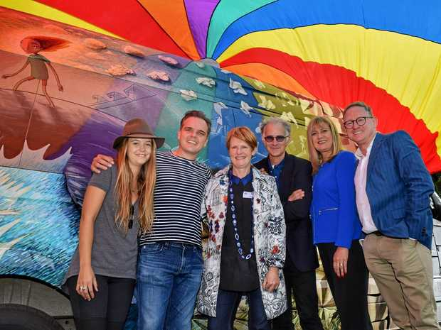 MAGIC BUS: StoryBoard project co-ordinator Coralie Tapper, author Tristan Bancks, author and Byron Writers Festival board member Jesse Blackadder, Australia's 2017 Children's Laureate Leigh Hobbs, MP Justine Elliot and MLC Ben Franklin.