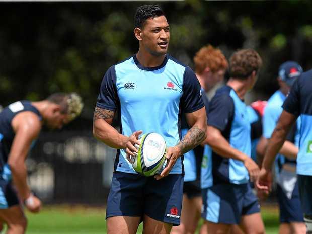 NSW Waratahs star Israel Folau at training ahead of Saturday's Super Rugby showdown with the Blues.