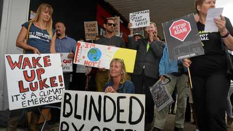 PEOPLE POWER: Liisa Rusanen (left) leads a protest against the proposed Adani Carmichael coal mine in Queensland's Galilee Basin outside of Federal member for Luke Hartsuyker's office. Coffs Harbour, May 3, 2017.