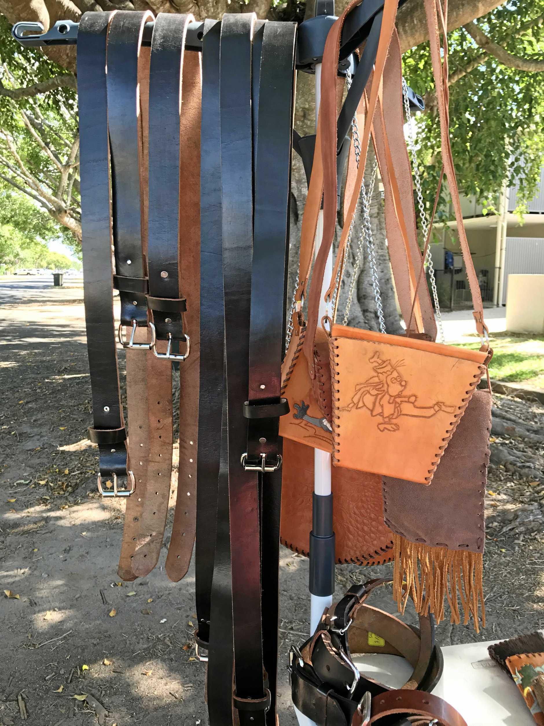 Dog collars and handbags.