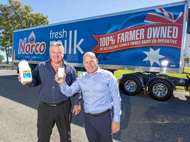 Norco CEO Brett Kelly and Coles State General Manager Jerry Farrell.