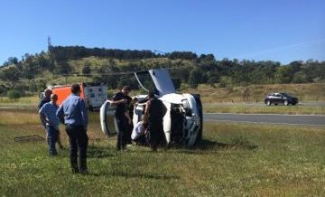 The scene of a car rollover at Plainland on Wednesday.