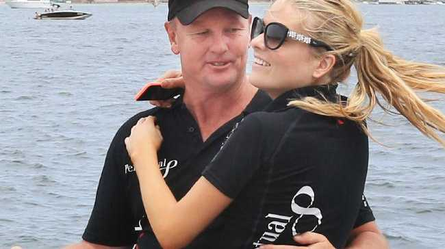 Erin Molan thanks skipper Anthony Bell after the Big Boat Challenge on Sydney Harbour. Picture: Mark Evans Source:News Corp Australia