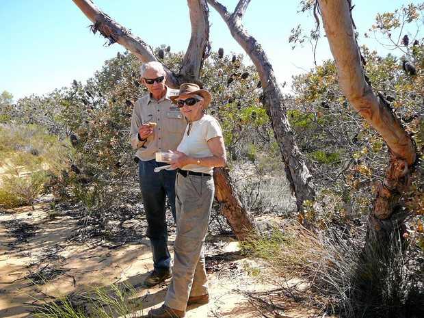 GREEN VOLUNTEERS: Bush Heritage volunteers Len and Valerie Warren on Eurardy Reserve in West Australia.