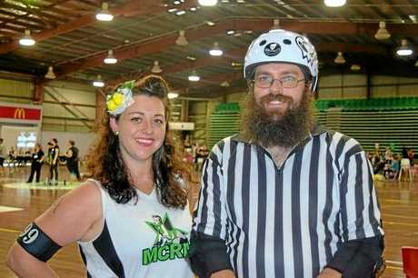 ROLLERS: James Bone (right) is one of the first men playing roller derby in the new Mackay team.