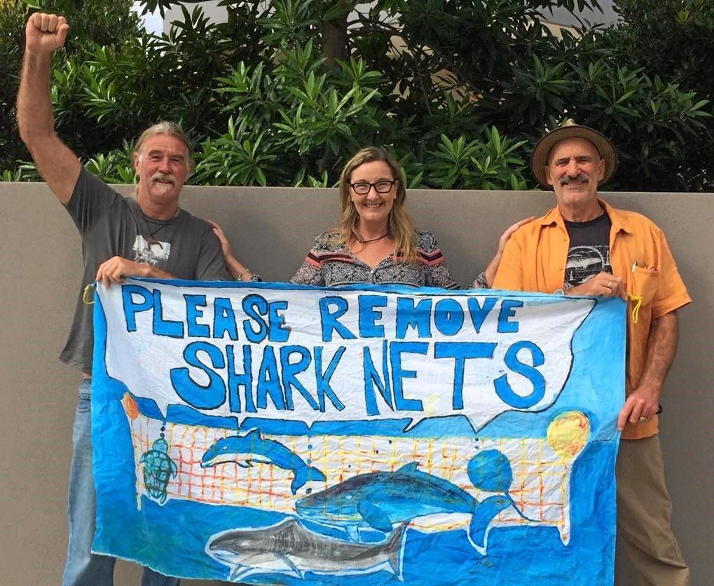 Left to right: Dean Jefferys, Migaloo 2 Foundation; Kathrina Southwell, Australian Seabird Rescue; and Ian Cohen, Ex Greens NSW MP at the Byron Bay Senate shark mitigation hearing.