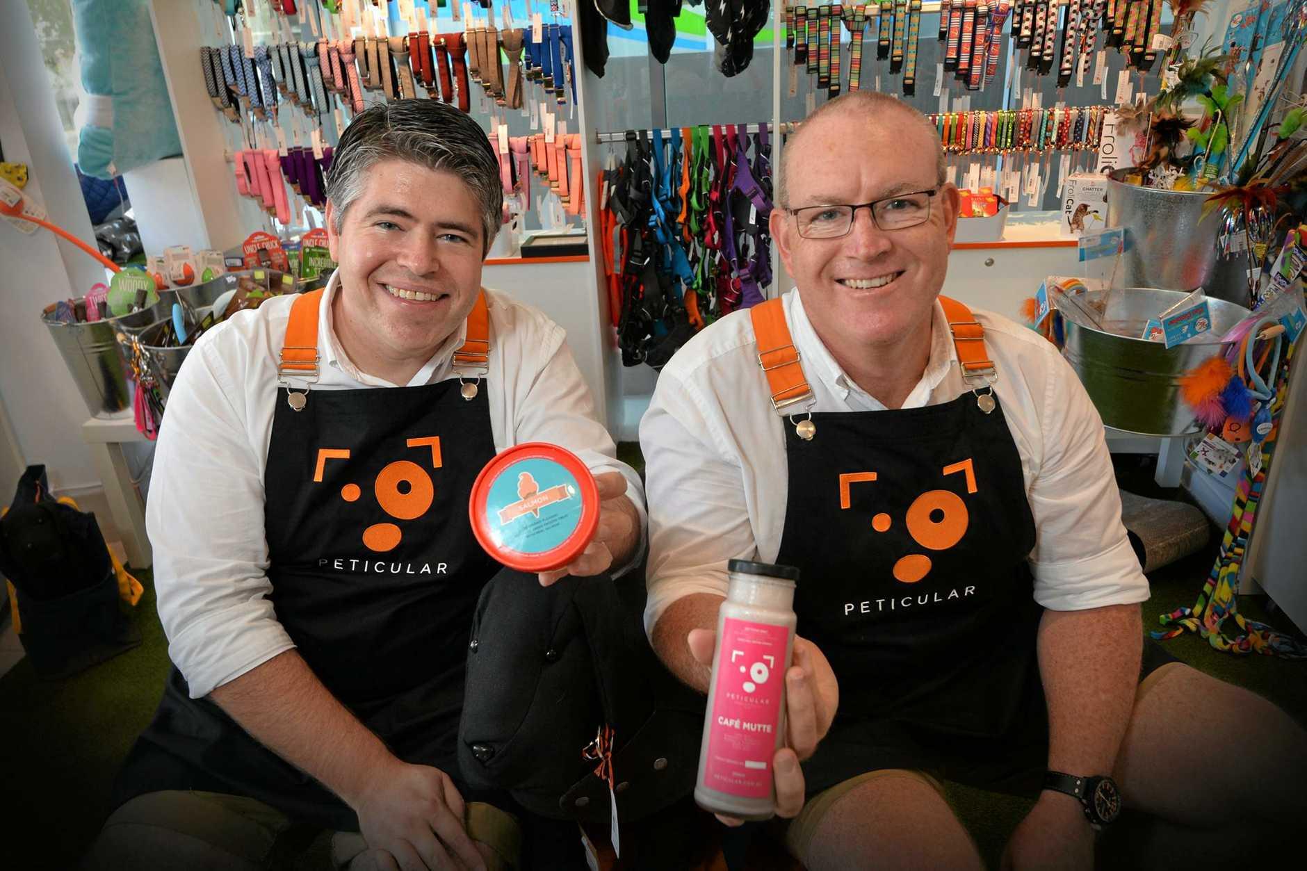 Peticular pet supplies shop owners Jon Manning and Brett Howell.
