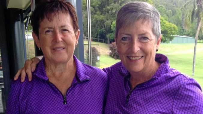 WINNERS ARE GRINNERS: Nola Lobban and Cheryl Booker after taking out the Lismore Lady Golfers' annual 4BBB matchplay championship.