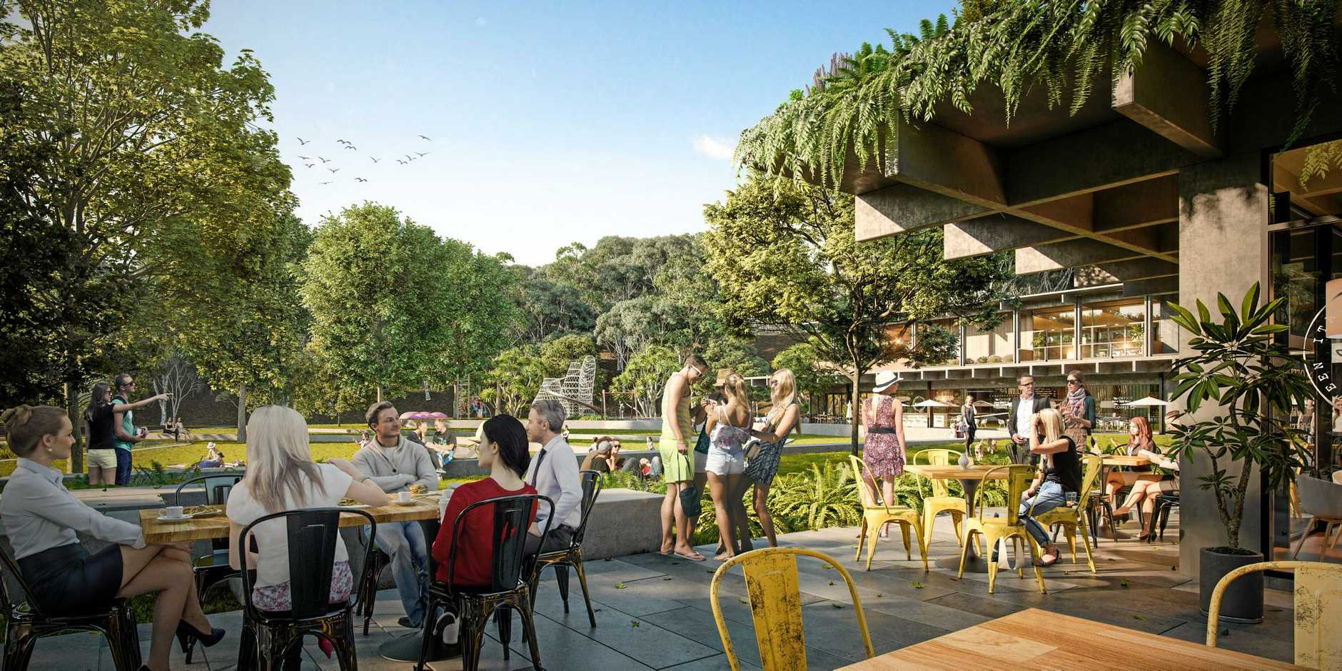 IMPRESSIONS: The view from the alfresco dining area across the 6000 sq m public park.