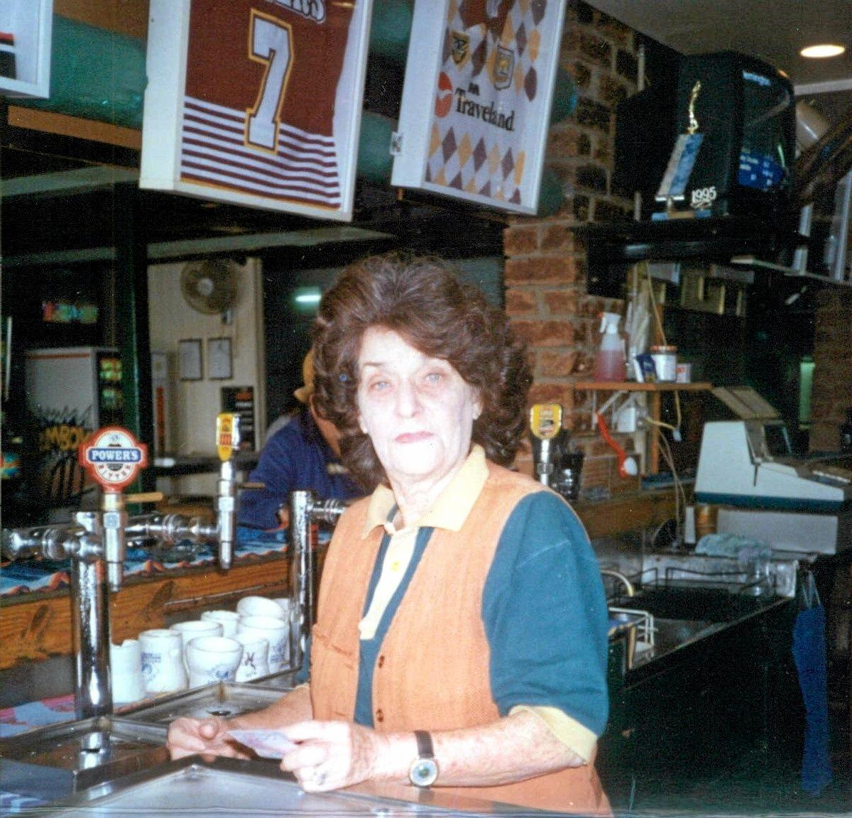 VALE: Beryl Wacker, pictured where she was best known behind the public bar at the old Mooloolaba Hotel, will be farewelled today.
