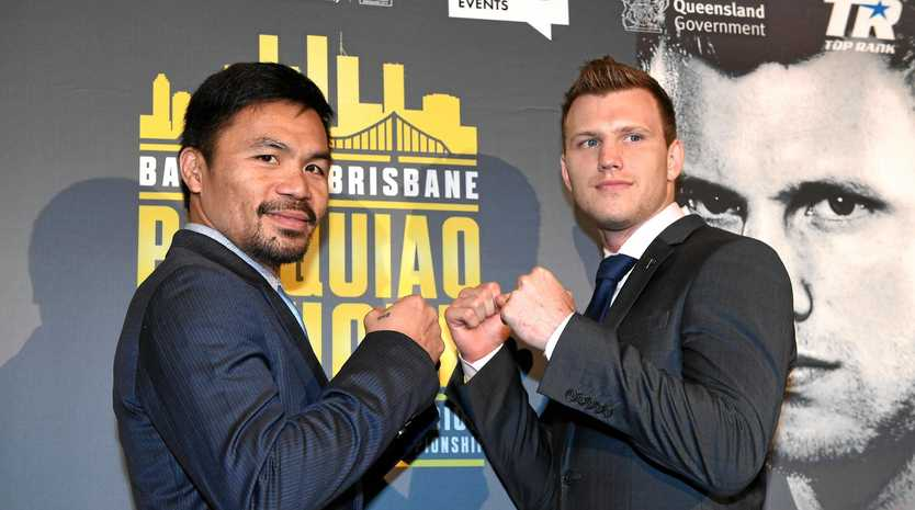 TRAINING DELAYED: Manny Pacquiao (left) has yet to start training for his fight with Queenslander Jeff Horn. Pacquiao was due to start training this week but prioritised his senate duties over his fight preparation.