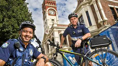 CYCLING FORCE:  ( From left ) Constable Chris Macklin and Senior Constable Geordie Horn are part of the Toowoomba Police bike squad  .  Thursday, 4th May, 2017.