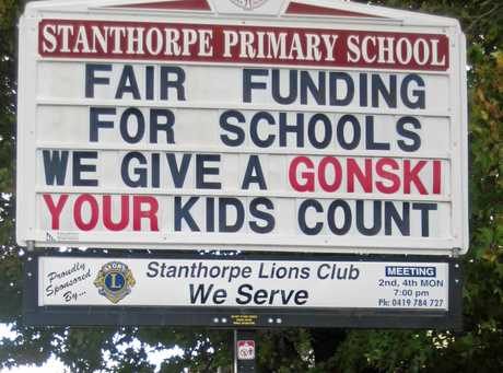 GIVE IT A GO: Stanthorpe State Primary School union representatives Damian Anderson, Terri McMeniman and Susan Evans show their support for the Gonski review.  Photo Contributed