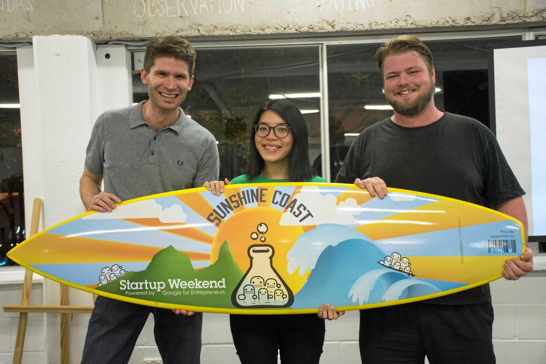 Startup Weekend Sunshine Coast 2017 winners Brendan Temple, Ann Liew and Chris Jolly.