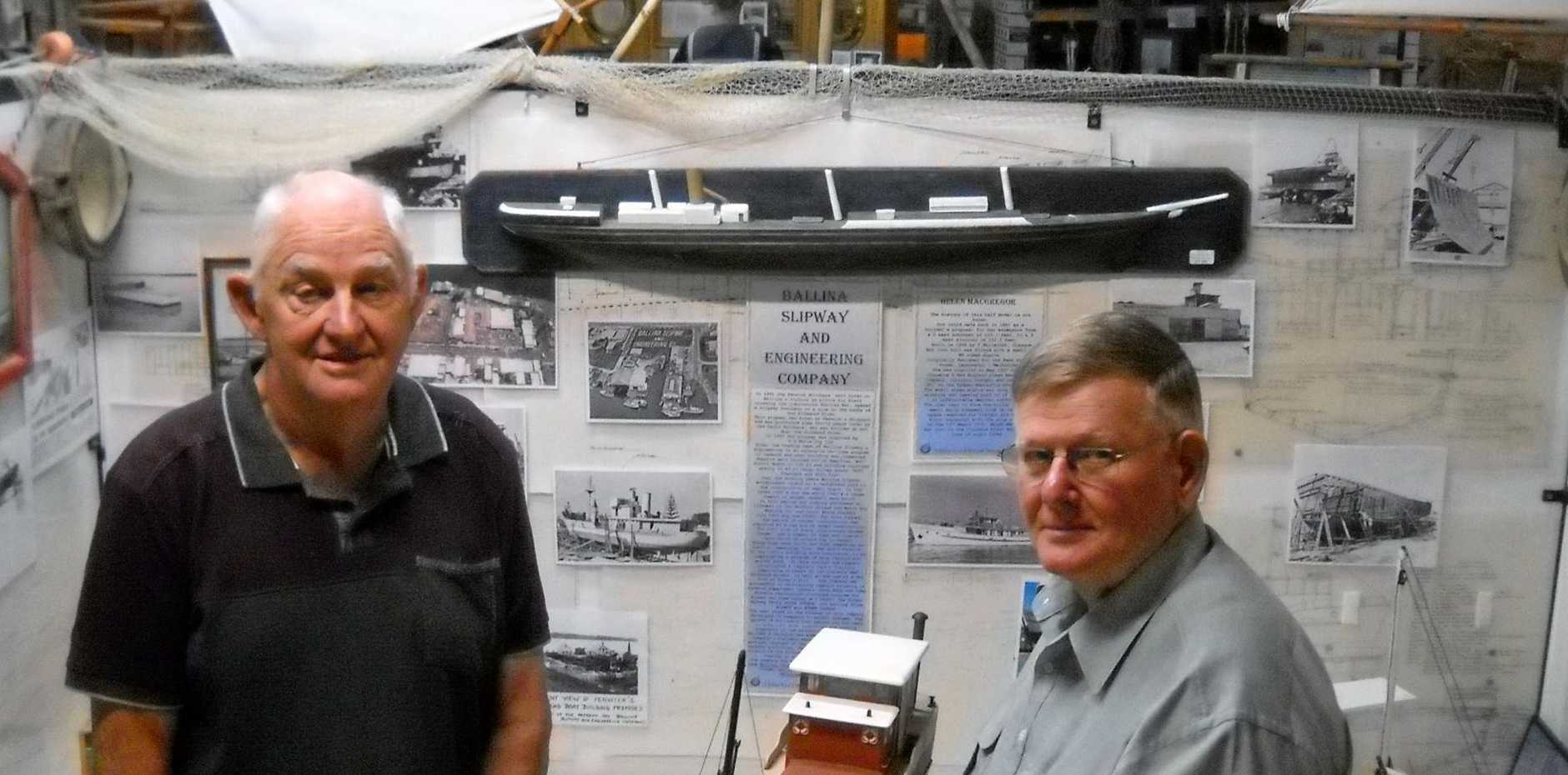 Ian McKinlay and,  Ian Paraz of Laidley Qld discover the rich history of Ship building in Ballina