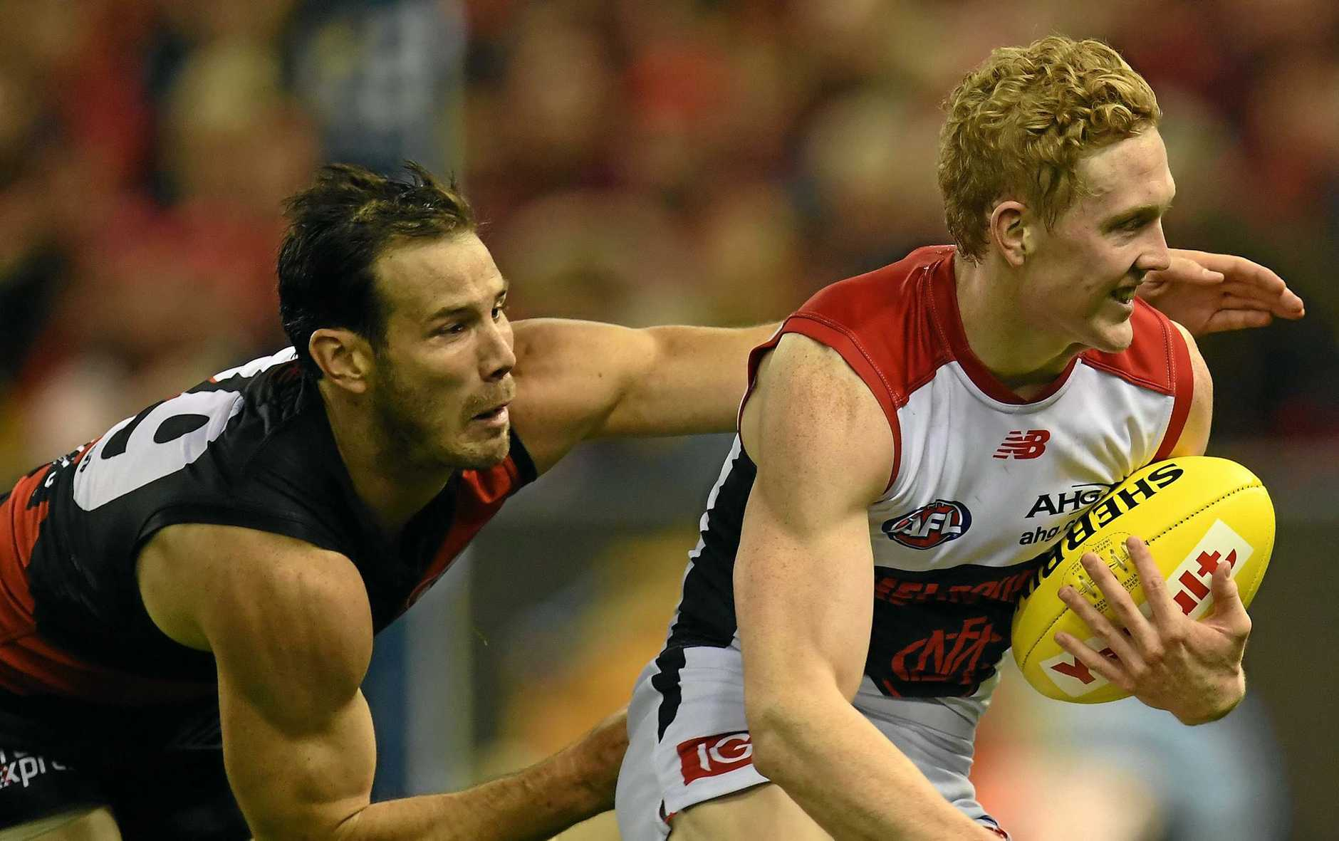 YOUNG STAR: Melbourne Demons Clayton Oliver (right) has earned high praise from his captain who rates him as one the best young talents he has seen in a decade.