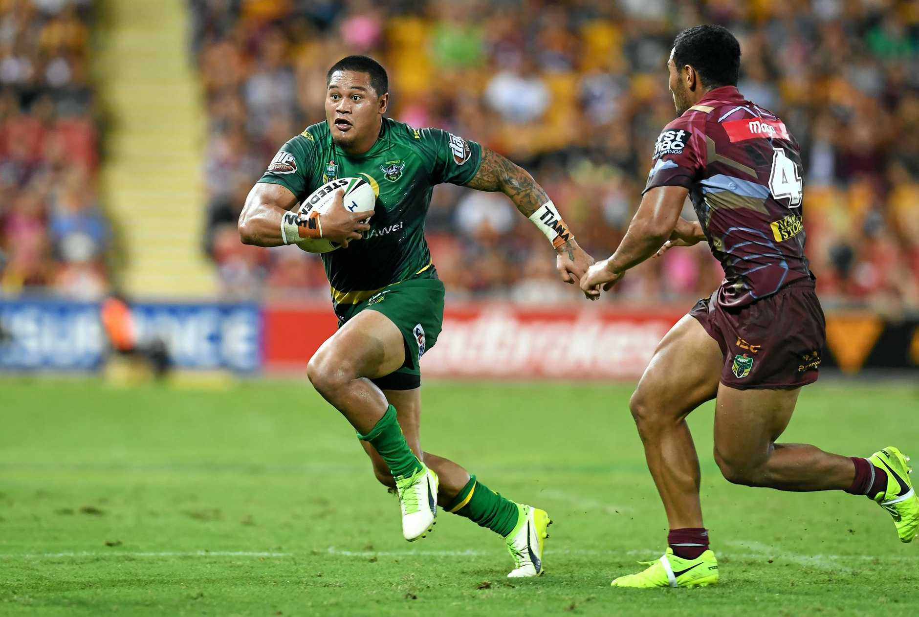 Joey Leilua of the Canberra Raiders (left) in action during their round 4 NRL game against the Brisbane Broncos at Suncorp Stadium in Brisbane, Friday, March 24, 2017. (AAP Image/Dan Peled) NO ARCHIVING, EDITORIAL USE ONLY