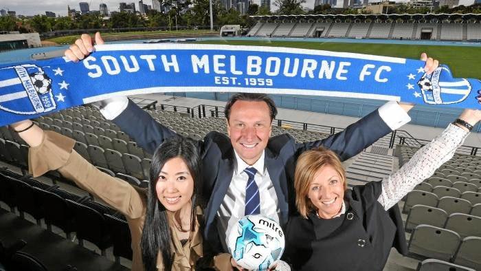 South Melbourne A-League Advisory Board chairman Bill Papastergiadis, with bid team members Luisa Chen and Gabrielle Giuliano.