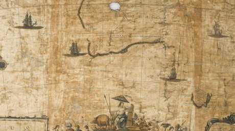 A close-up of the rare map found in Italy of early Australia.