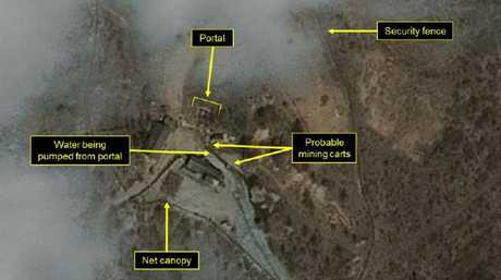 Satellite image showing movement at North Korean nuclear site. Picture: 38 NorthSource:Supplied