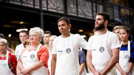 MasterChef 2017 Rashedul Hasan (centre) flanked by Benita Orwell (left) and Benjamin Bullock (right).