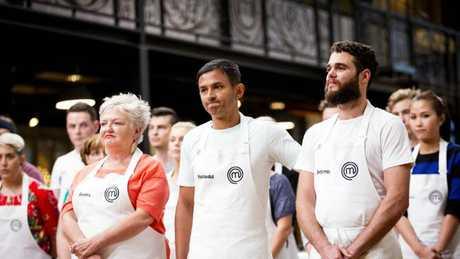 MasterChef 2017 Rashedul Hasan (centre) flanked by Benita Orwell (left) and Benjamin Bullock (right).