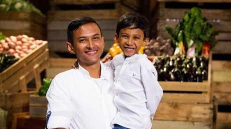 MasterChef contestant Rashedul Hasan with his son Aiman.
