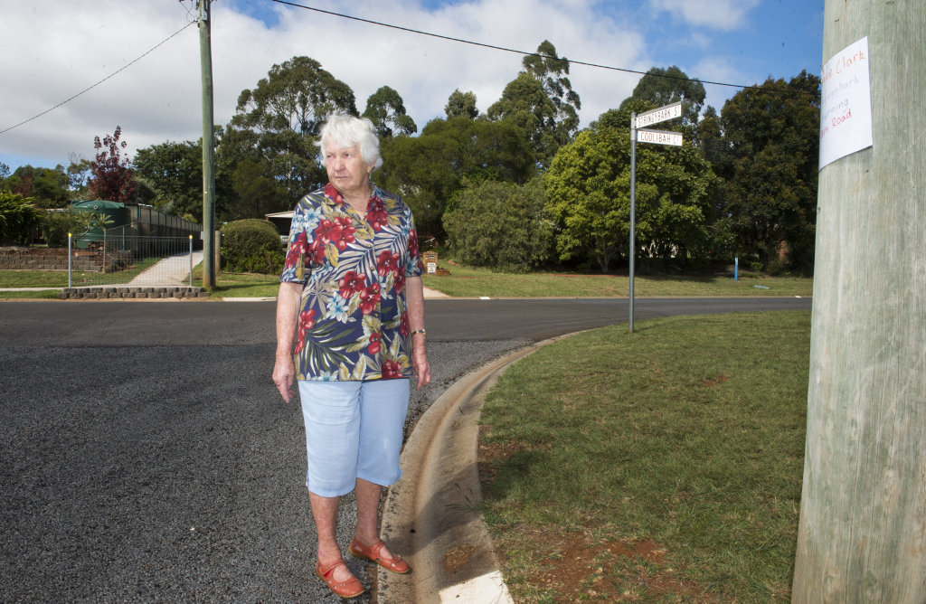 SERENITY SHATTERED: Lois Barry will shift from her Coolibah Court home in Highfields if Stringybark Street is extended through to the New England Highway . Friday, 5th May, 2017.