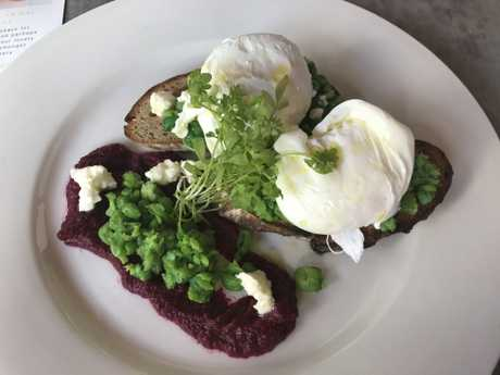 The smashed peas and poached free range eggs from Greendays' breakfast menu.