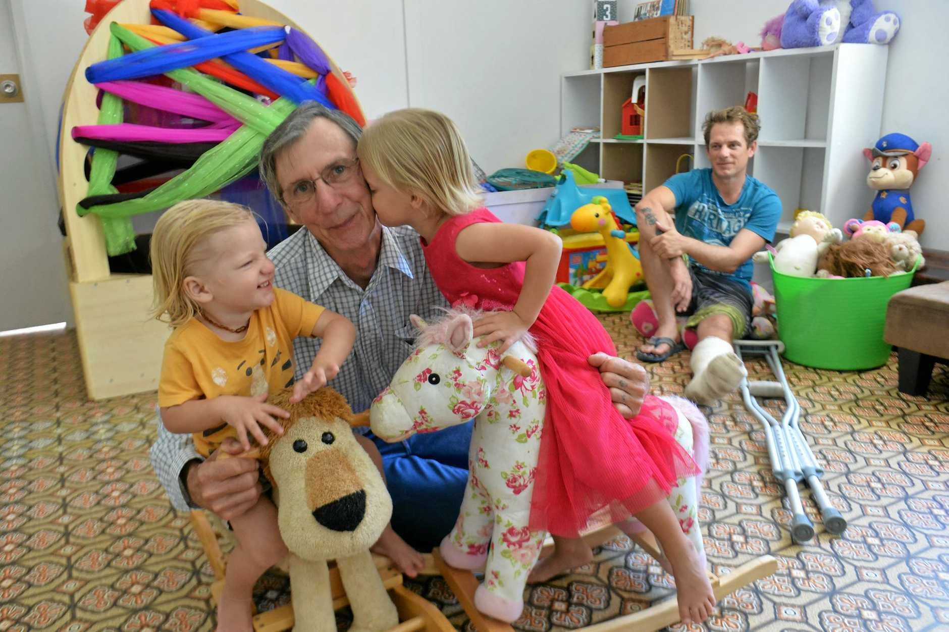 WHEN THINGS GO WRONG: Both parents crippled by motorbike crashes within two weeks of each other - that's when you need your family. Grandpa, Max Smith, is Cristy Smith's dad - pictured here with grandkids, Max, 2, and Willow, 3. Bradley Clout-Dale, Cristy's fiancée, is in the background.