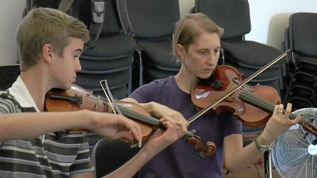 IN TUNE: Matthias Kauffman (left) and Gitti Harriman will perform with Gympie Strings in the Cooloola Community Orchestra's Mother's Day concert on May 13.