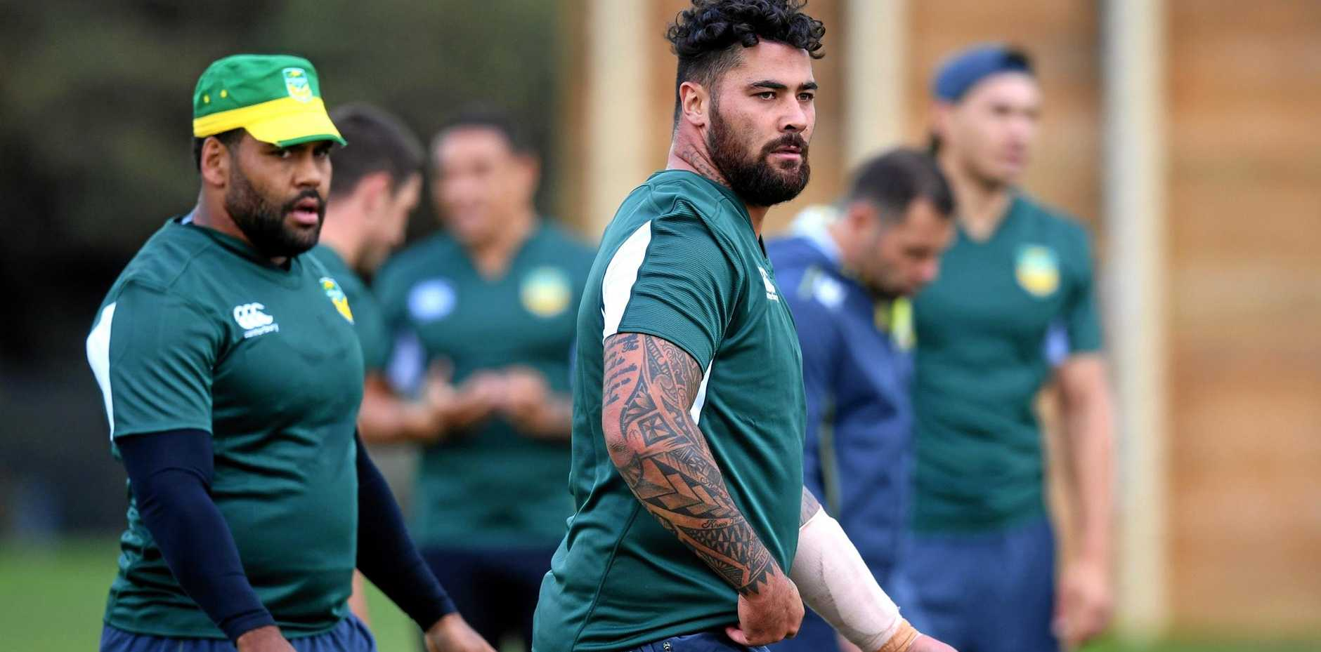 Andrew Fifita during a Kangaroos training session at the AIS in Canberra