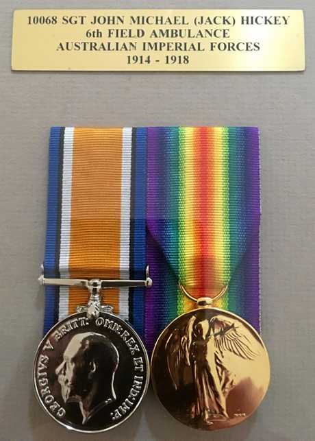 John Hickey's medals from fighting in the war.
