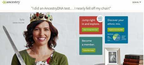 Ancestry.com's web page.