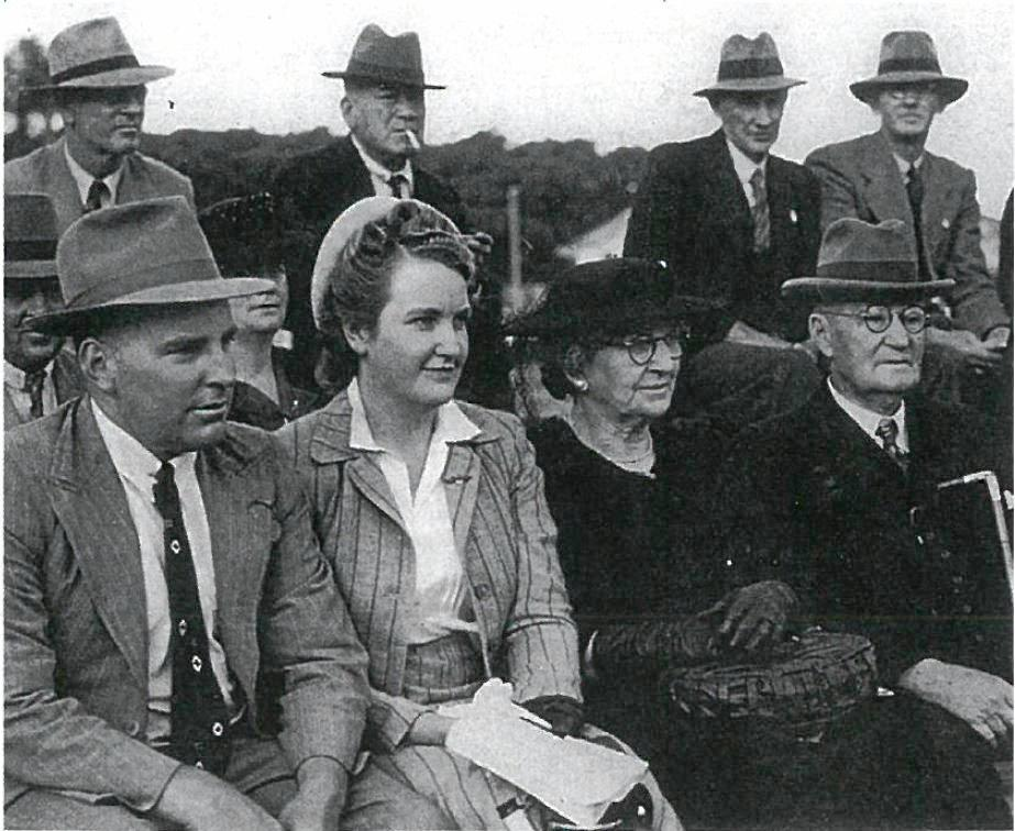 A photo, believed to be printed in the Queensland Country Life in 1943, of Allen, Ruby, Margaret and JJ Galloway at the Ekka.