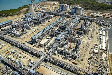 Aerial of Santos GLNG's LNG trains   Curtis Island, late September 2014.  Photo Contributed
