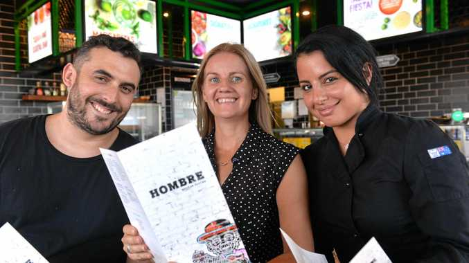 Hombre franchisee Mel Fowler (centre) with Emilio Basone, FRB head of food and supply chain management, and group chef Emeleen Khalaf.