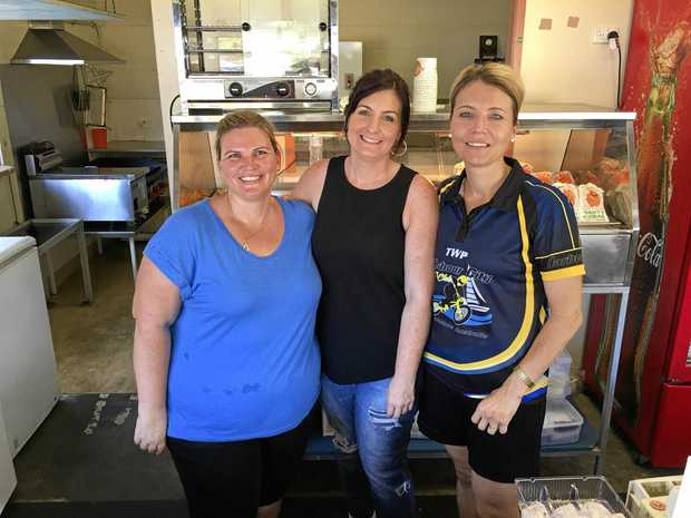 Gladstone BMX Canteen volunteer's Kristy Robertson, Renae Innes and Janice Crow.
