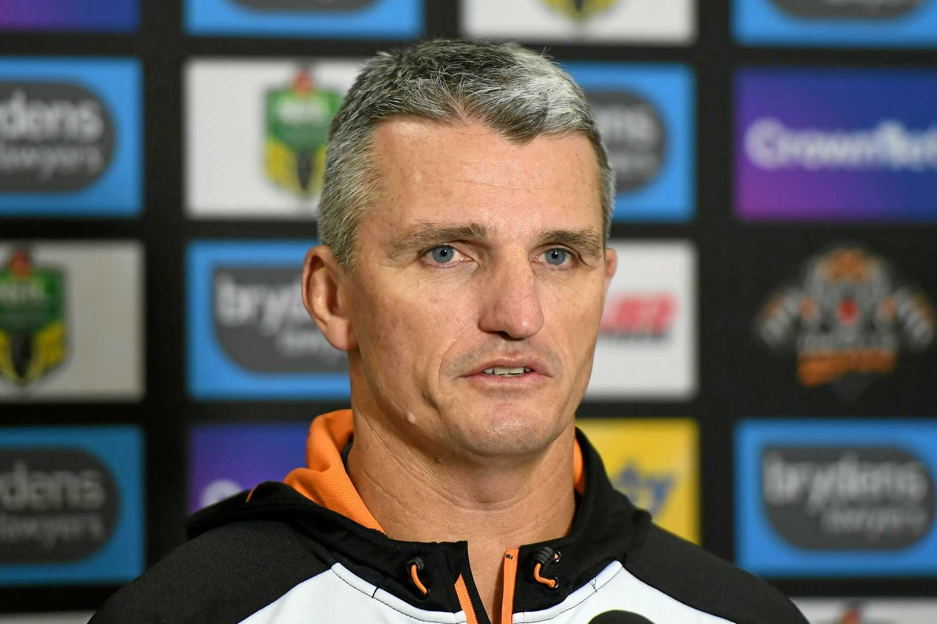Wests Tigers coach Ivan Cleary speaks to reporters before a training session.