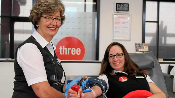 GIVING BACK: Toowoomba Red Cross Blood Service registered nurse Jan Binns (left) with Toowoomba Hospital acting executive director Shirley-Anne Gardiner.
