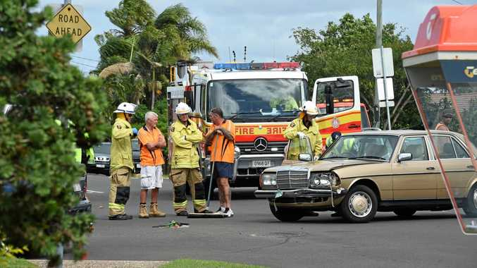 Emergency services respond to a crash at Nissen St, Pialba.