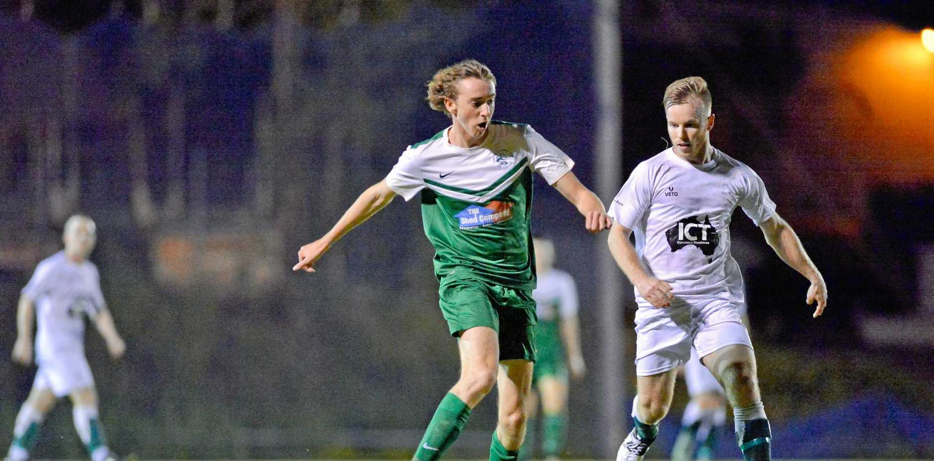ON THE BURST: Clinton's Shannon Evans against Frenchville in an FFA Cup last month.